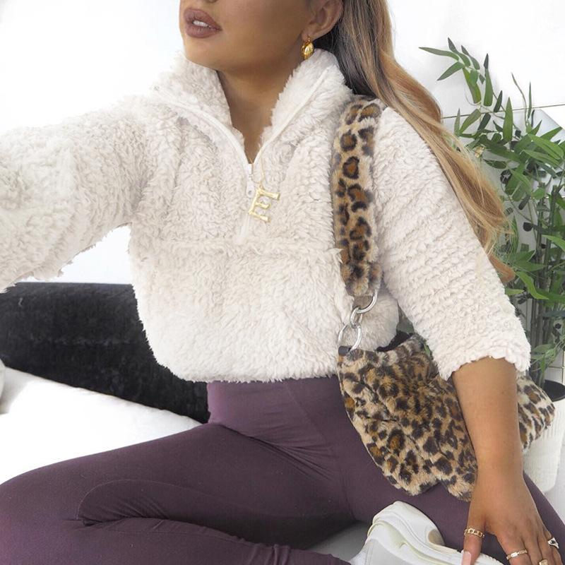 Joskaa 2019 Uzun Kollu Fermuar Cep Sahte Kuzular Yün Mahsul Sonbahar Kış Kadın Streetwear Katı Coat Ceket Tops