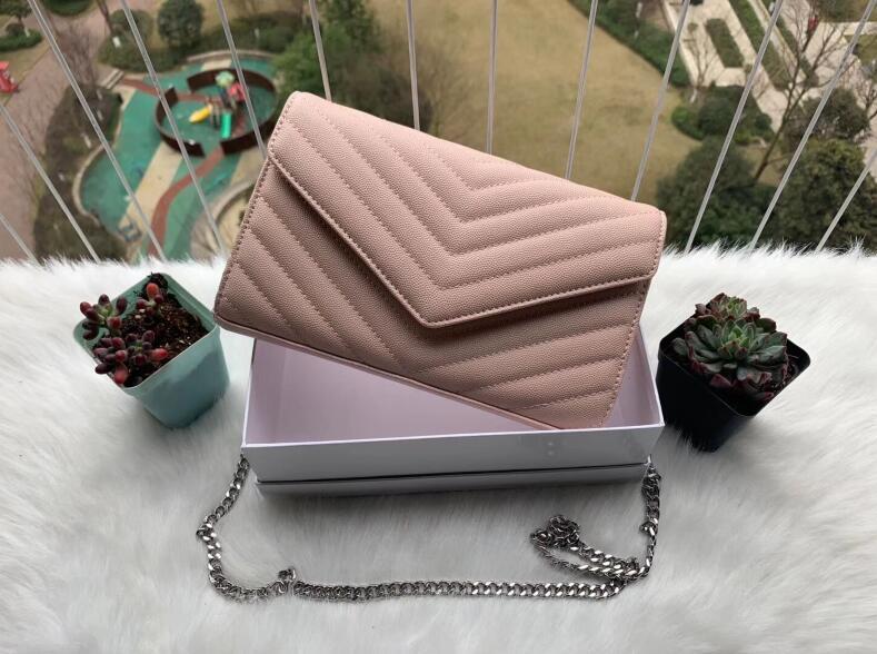 2020 Tasarımcı çanta toz torbasının ile havyar metal zincir gümüş Tasarımcı Çanta Deri çanta çevir kapak diyagonal Omuz Çantaları koyun derisi