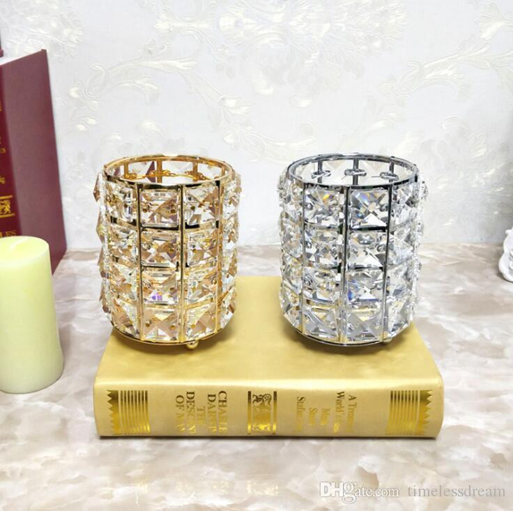 Exquisite Crystal Candlesticks Wedding Candle Holder Home Desktop Decor Romantic Candlelight Dinner Props Multifunctio Pen Holder Free Ship