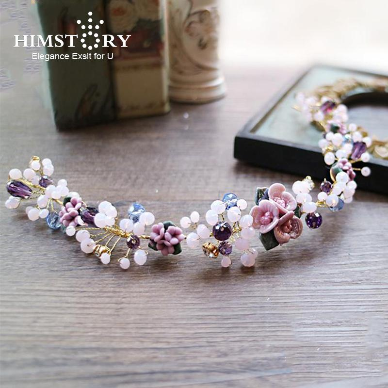 HIMSTORY Violet Flower Bridal Hairbands Handmade Beads Crystal Soft Hair Tiara Wedding Purple Hair Accessories Hairwear