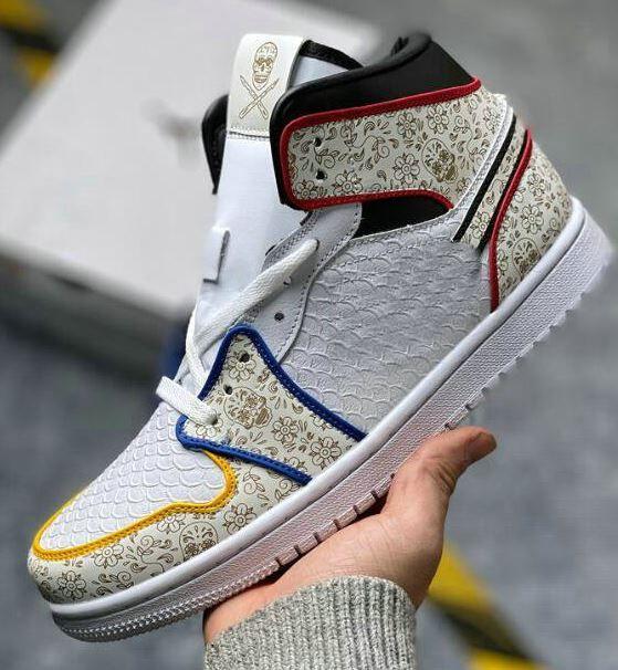 2020 cirurgião x 1 Dia dos sapatos de couro padrão de cobra morta Mens Basketball branco preto vermelho azul do crânio 3M Chaussures Trainers HO