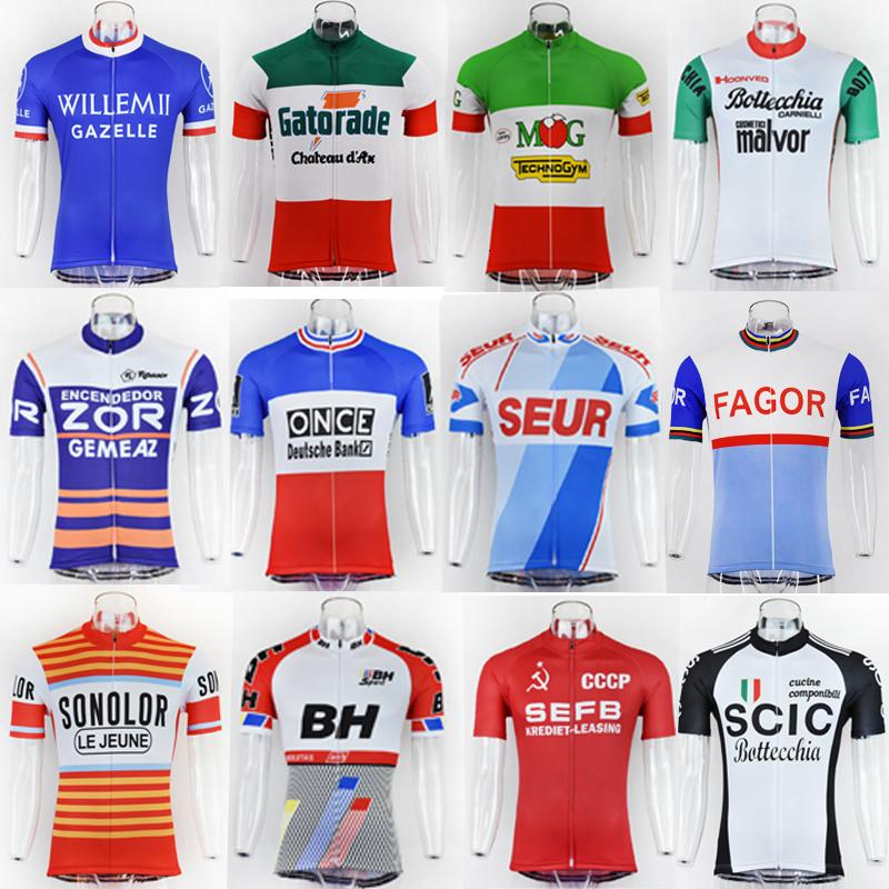 NEW 2019 남성 여름 사이클링 저지 클래식 MTB 복고 스타일 컬렉션 자전거 의류 탑 셔츠 자전거 타이츠 Ciclismo를 착용