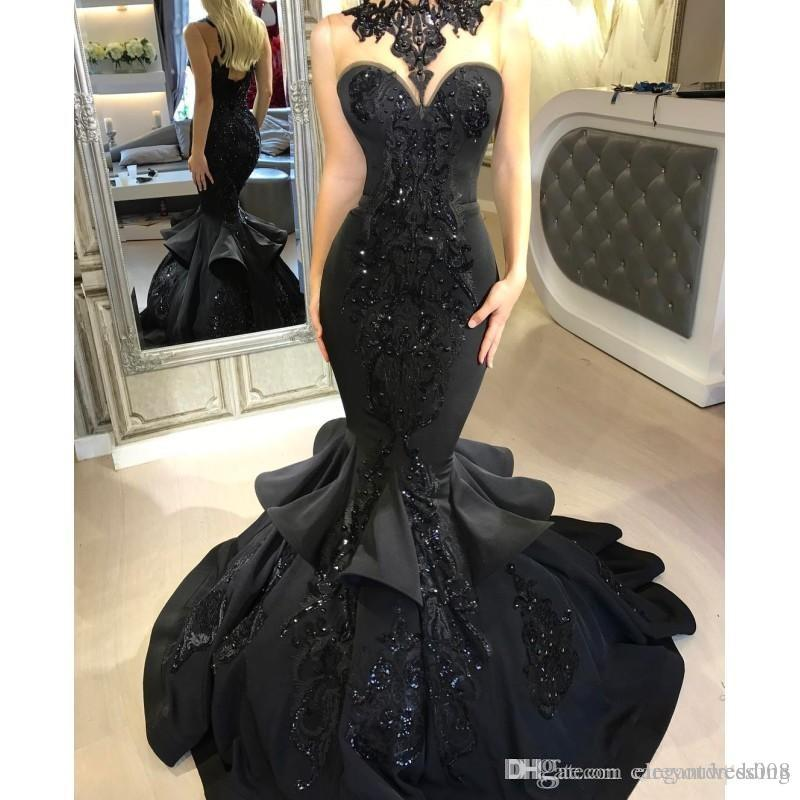 Dubai Arabic Black Mermaid Prom Dresses 2019 Beads Sequined Ruffles Sequined Lace Applique Floor Length Formal Party Gowns Prom Dresses