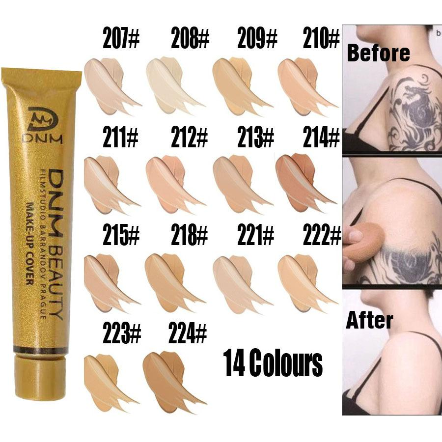 DNM العلامة التجارية 14 الألوان 30G السائل كريم الأساس الأنبوب الذهب وجه الجمال الطبيعي المكياج غطاء المخفي