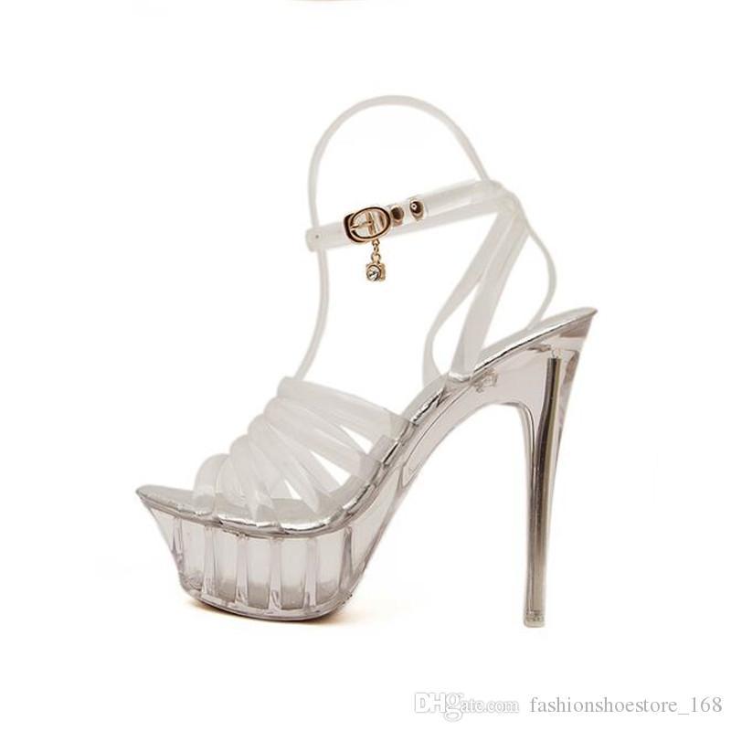 2019 Transparent Heels Women Sandals Summer Sexy Crystal Shoes Thin Heels 14CM Transparent Sandals High Heels Open Toe Wedding Shoes 35-43