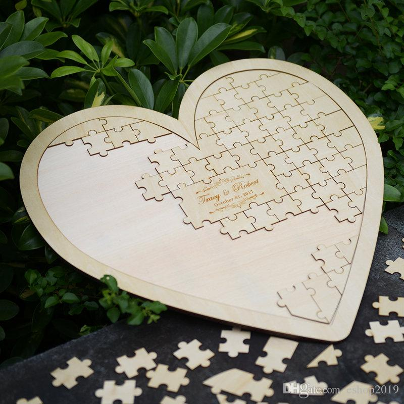 Custom Personalised Puzzle Love Shaped Birthday Fingerprint Guest Book Alternative Novel Hanging Heart Puzzles Wedding Guest Sign In Box