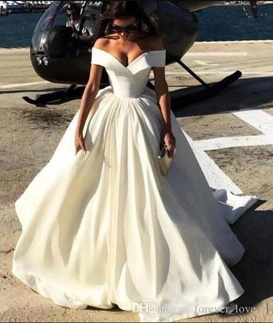 Neue Mode Einfach Importierte Pakistanische Schulterfrei Satin Brautkleider Sexy A Line Brautkleider für Braut