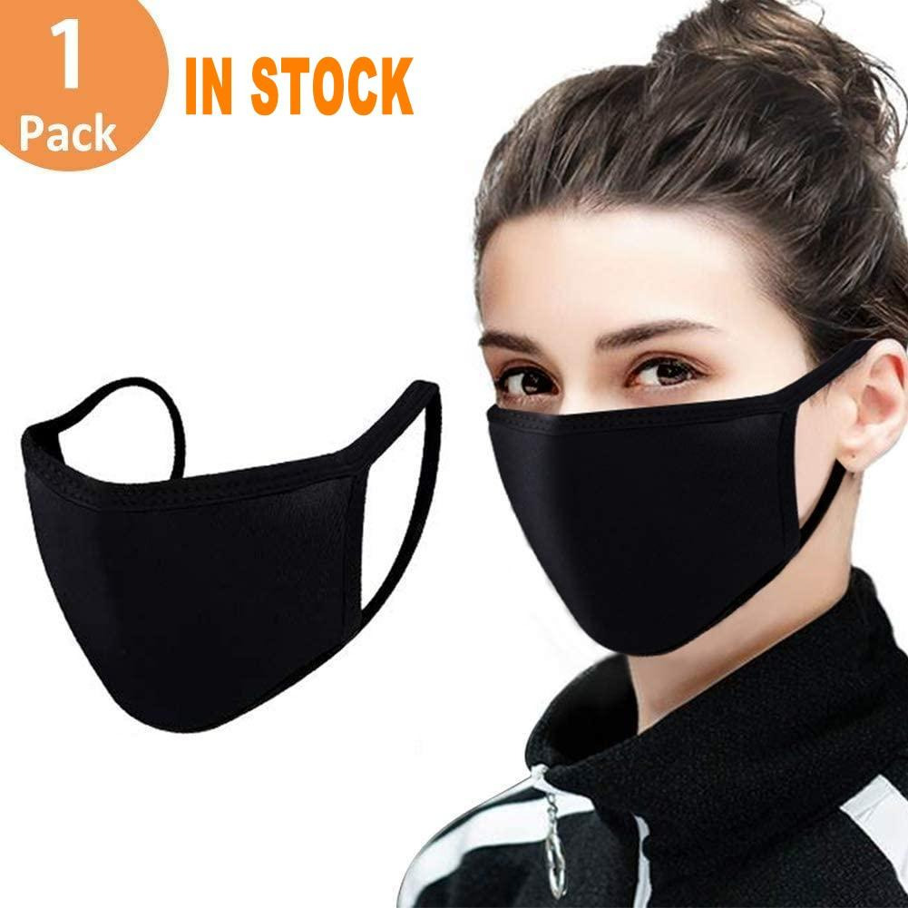 New Adjustable Anti Dust Face Mask,Black Cotton Mouth Mask Muffle Mask for Cycling Camping Travel,100% Cotton Washable Reusable Cloth FY9043