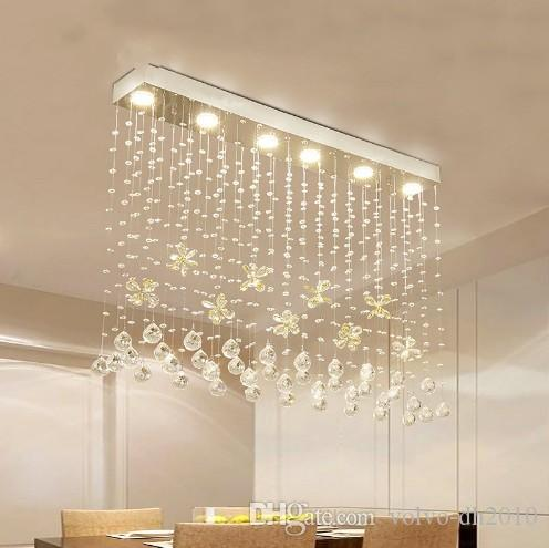 ModernLED Luster Butterfly Crystal Chandelier Interior Curtain Wave Lighting Fixture Wrought Iron Foyer Chandelier Bathroom Lamp LLFA