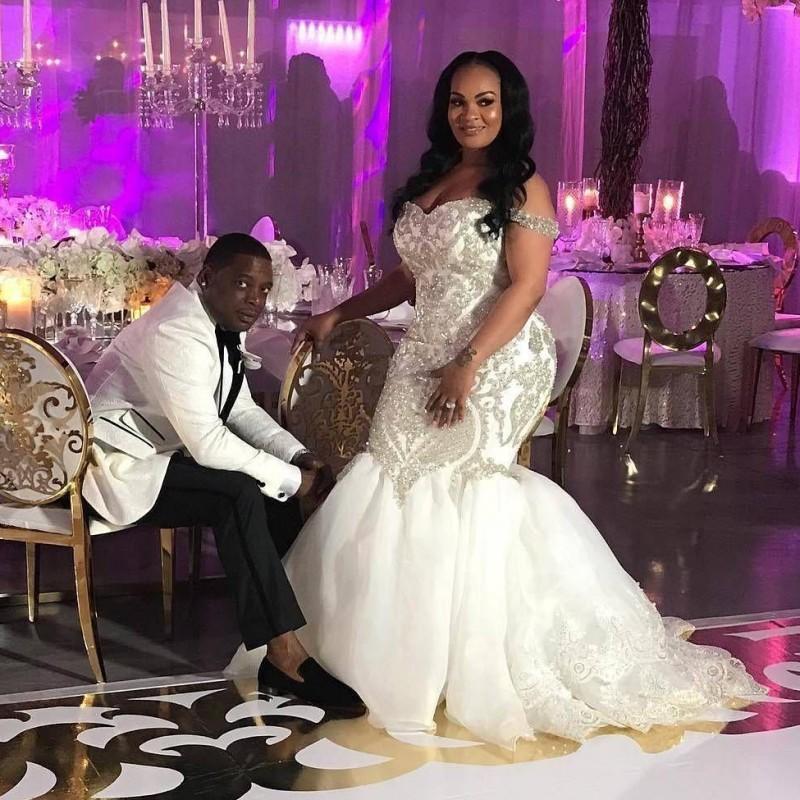 Luxury Plus Size Wedding Dresses Long Beads Sequins Mermaid Wedding Dress robe de mariee Zipper Lace Appliques Brdal Gowns