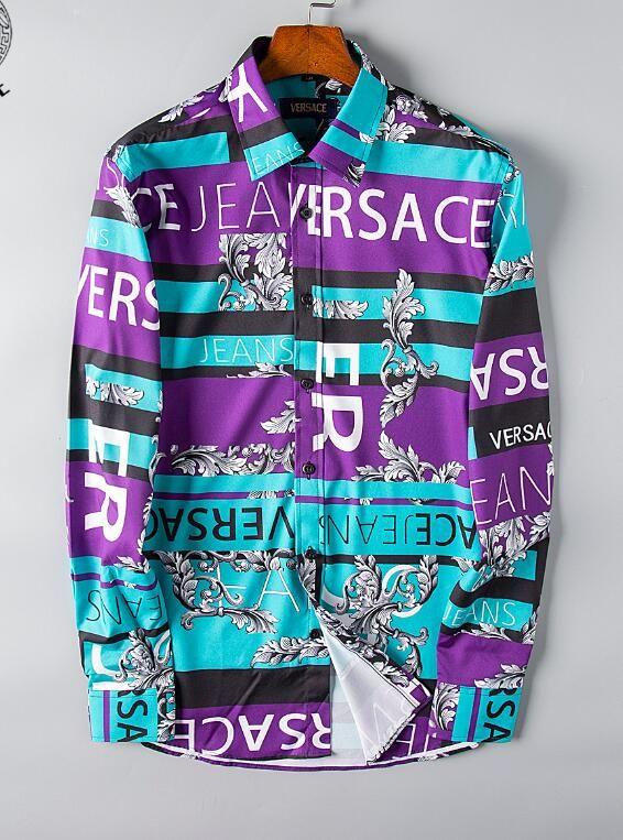 Primavera / verano 2019 de la nueva manera europea y americana de la marca de ropa masculina ocasional del negocio del diseñador impresa camisa del tamaño de manga larga s-3xl -A1