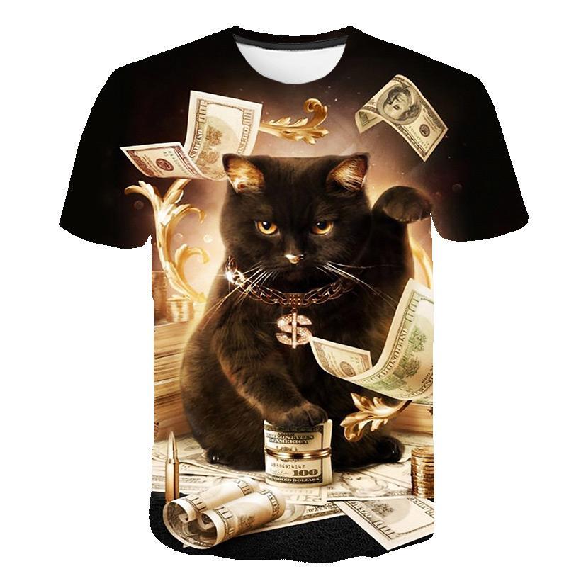 새로운 패션 여자 / 남자 고양이 돈 짧은 소매 재미 있은 3D 인쇄 T- 셔츠 여름 캐주얼 의류 상위 Tees K15