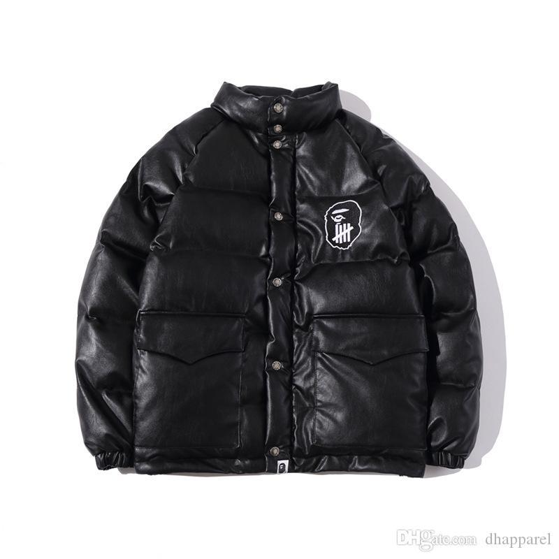Spesso Casual Giacca in pelle PU Adolescente Hip Hop di baseball giacca dell'uniforme degli uomini di marca Autunno Inverno New Tide