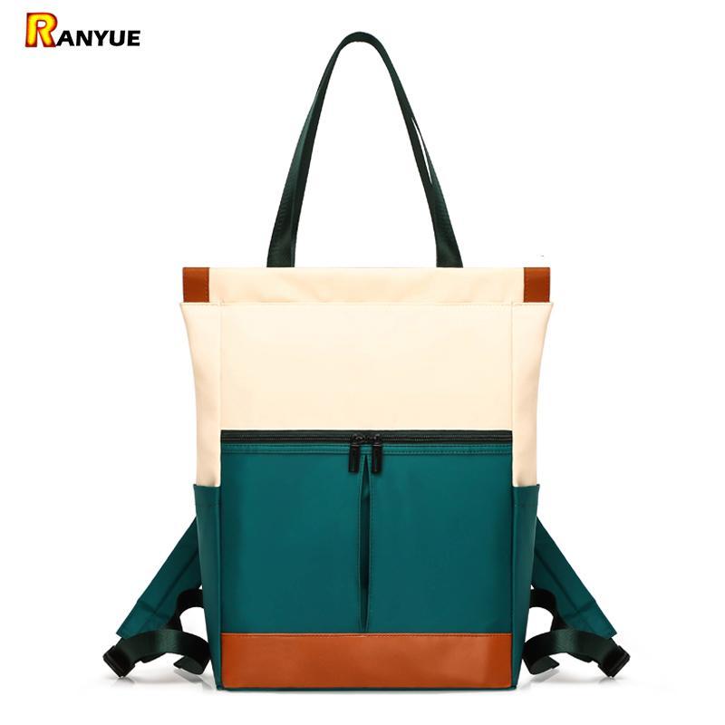 Nylon Waterproof 15.6 Laptop Backpack Women Large Capacity Ladies Hand Double Shoulder Bags Female Bagpack Satchel Travel Bolsa Y19061102