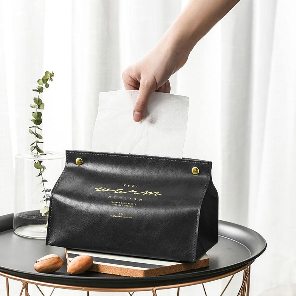 TiOODRE neue kreative PU-Leder faltbare Serviettenhalter Papieraufbewahrungsbehälter Good Aussehen Tischdekoration Dekoration Tissue Box