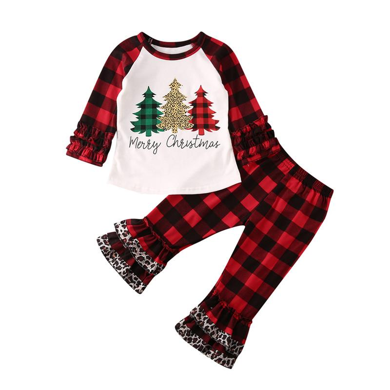 Christmas Toddler Kid Baby Girl Xmas Print Clothes Set Plaid Ruffle Long Sleeve Top T-shirt Pants Outfit Spring 6M-5Y
