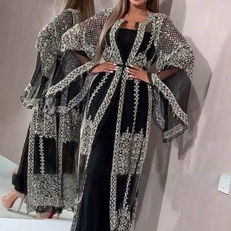 2020 Women's Sexy Long Dress Shawl Banquet Formal Party Dresses black Lace Bell Sleeves Beaded Prom Evening Gown