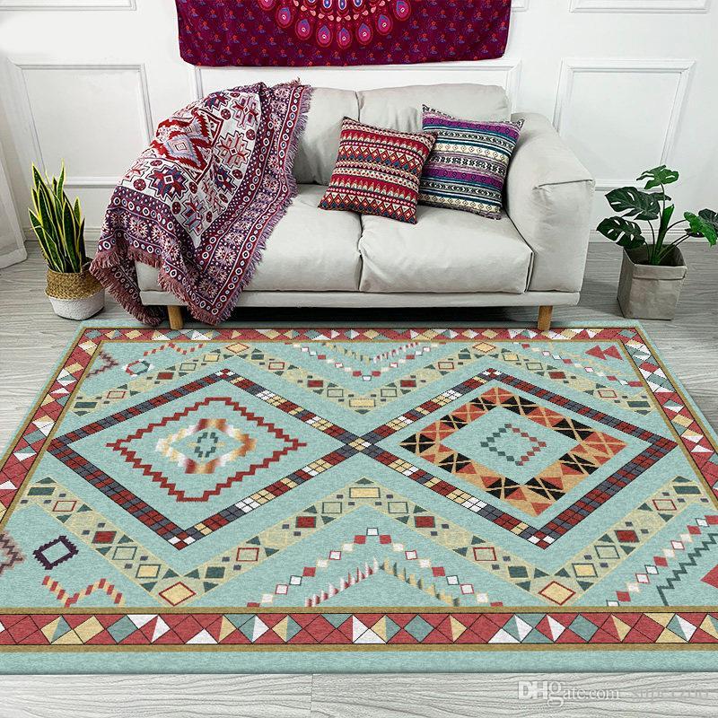Этнические ковры для гостиной Спальни Коврики марокканского Bohemian Крупногабаритного Ковер Главных ковровой Решотка украшения 004