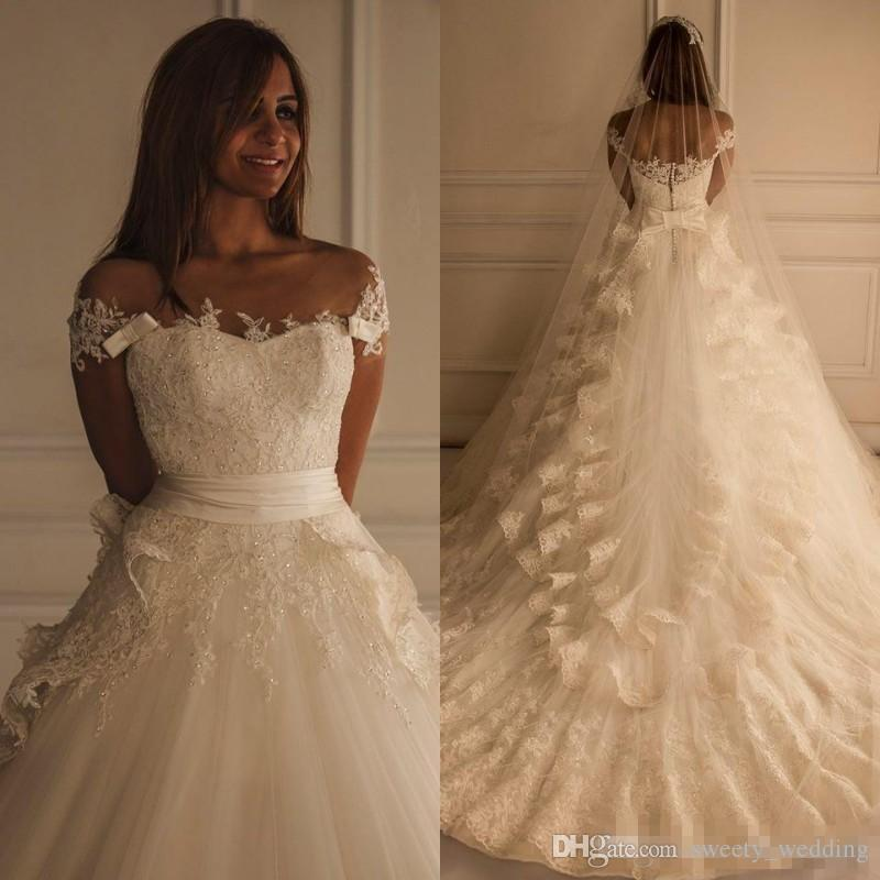 Custom Made Lace Ivory Beadedl Wedding Dresses 2018 Maison Yeya gown Beautiful Vintage Arabic Dress Bridal Gowns