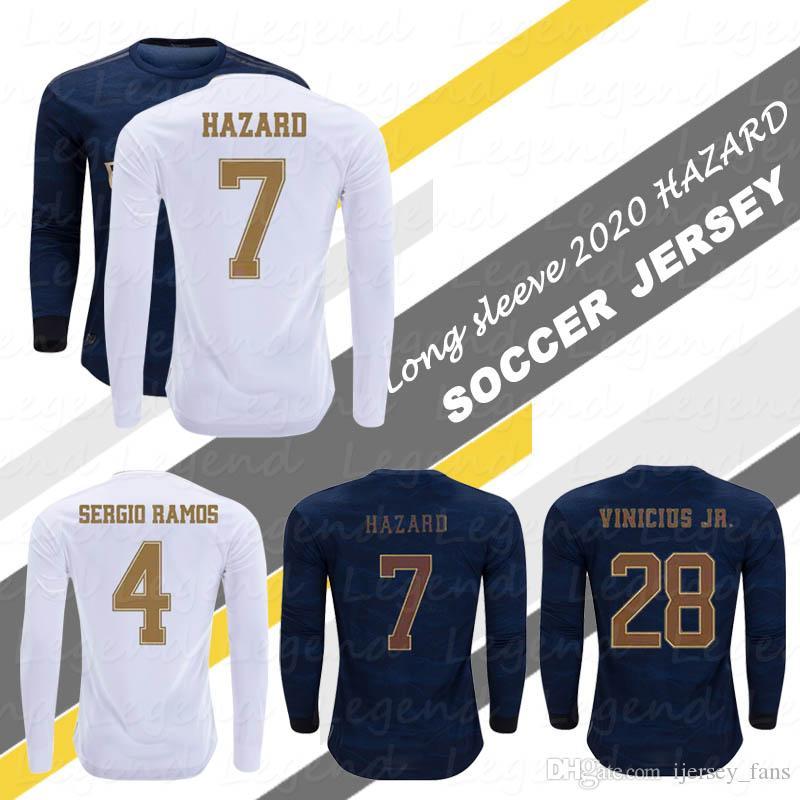 위험 긴 소매 저지 19 20 최고 태국 MODRIC BALE SERGIO RAMOS ISCO BENZEMA 전체 소매 축구 셔츠