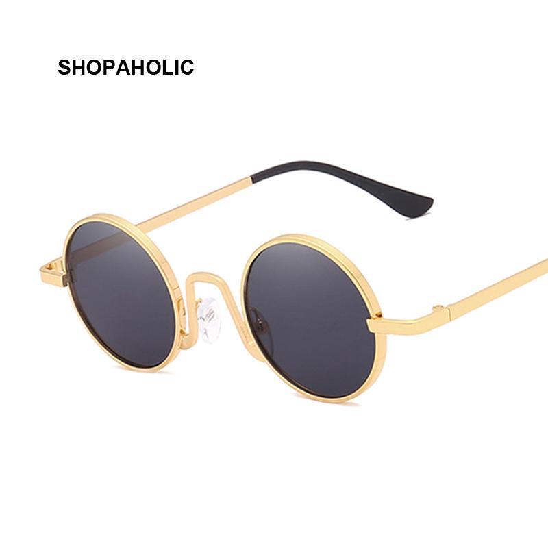 Metall Steampunk Sonnenbrille Männer Frauen Mode-Rund Glas-Marken-Design Vintage Sonnenbrillen Weibliche Qualitäts-Brillen Shades