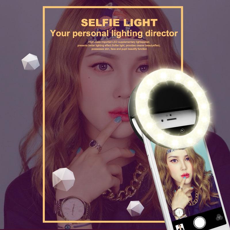 صورة سيلفي قابلة للشحن لقطع ضوء LED selfie flash light adjustable lamp selife full-light RK14 للهواتف الذكية