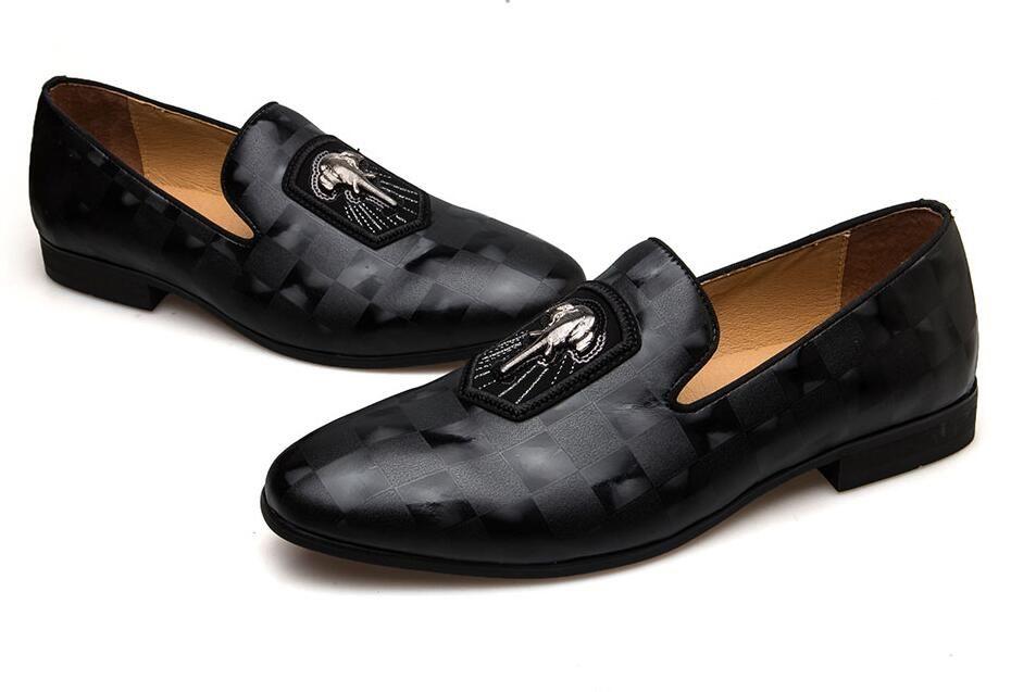 stile italiano Primavera Autunno cuoio genuino degli uomini dei fannulloni Moda Uomo scarpe nere banchetti scarpe da festa di nozze sposo Scarpe modello Oxford Y237