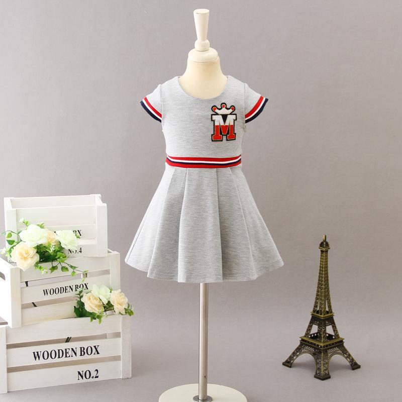 Vestido de la muchacha de los vestidos de la niña de los niños de la manga corta vestidos de dibujos animados 2020 Diseñador infantil Fiesta de la princesa vestido de los niños Ropa Boutique S757