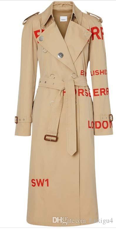 Women's windbreaker long section loose trench coats letter printing waterproof windbreaker catwalk models British wind 2019 new coat 4v