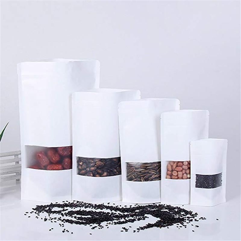 Branco Kraft levanta sacos sacos reussable zipper papel saco com janela para saco de embalagem à prova de umidade de cookie de lanche