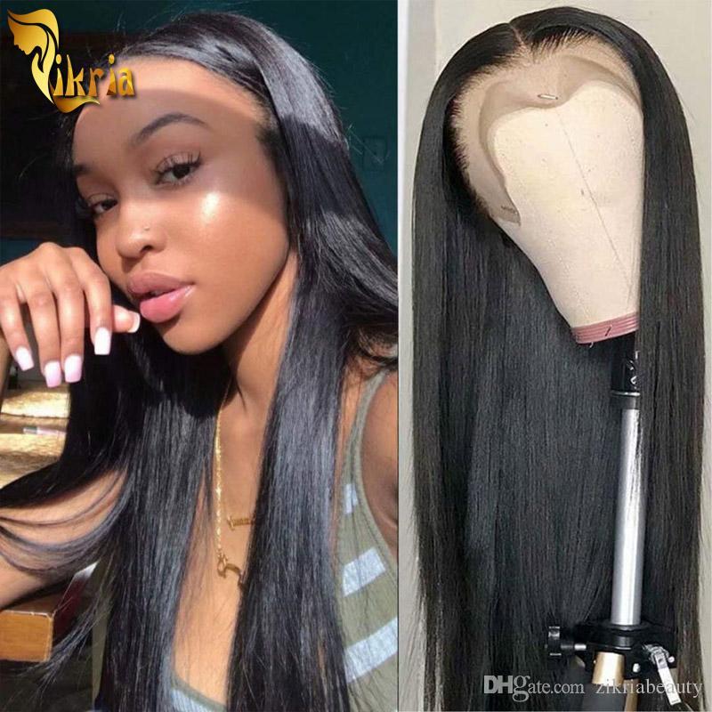 13x4 parte dianteira do laço de cabelo humano Perucas peruca cheia do laço 100% não transformados índio brasileiro Cabelo peruana Virgin Pré arrancada Natural Hairline 8 ~ 24inches