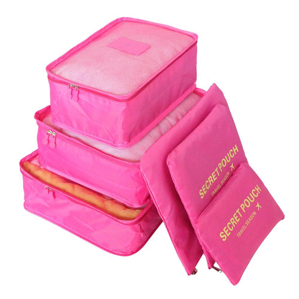 Laamei 6 Pz / set Borsa da viaggio per abbigliamento Accessori per imballaggio funzionale Borse per bagagli Organizer Cubi per imballaggio a maglia ad alta capacità