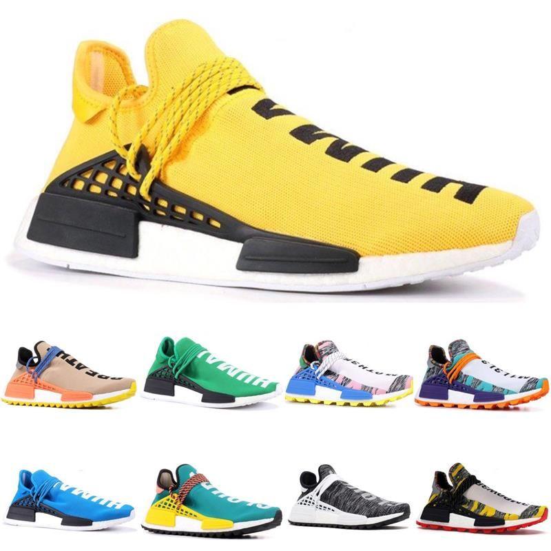2019 NMD Human Race Pharrell Williams Men Women Hu Trail Running Shoes Cream Core Black Nerd Yellow Black Sport Designer Shoes With Box Shoes On Sale