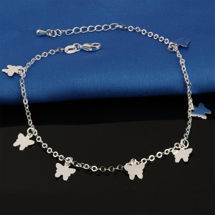 JG1 925 bracelet de cheville de ruban sterling pour les femmes Pied Bijoux Bracelets de cheville Bracelet Zircon marqueté sur un cadeau de personnalité jambe K3494