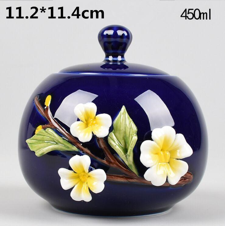 11cm de haut et 13,3 cm de large) pot de thé en céramique céladon en trois dimensions à double usage de stockage de décoration de salon main pot pétrit de fleurs de thé