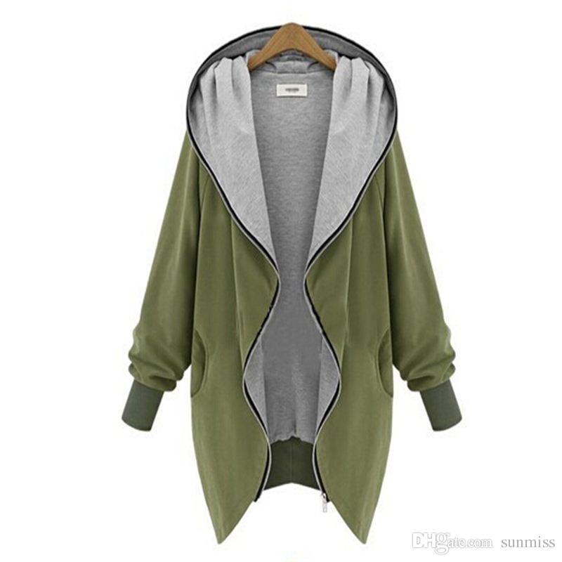 새로운 봄 가을 패션 대형 여성 캐주얼 느슨한 카디건 자켓 두건의 단색 지퍼 카디건 코트 A071