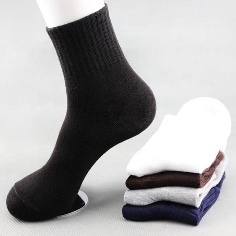 10PC = 5Pair / lot Katı Renk Çorap Pamuk Erkekler Moda In Tüp Çorap Kış Erkek Casual İş Nefes