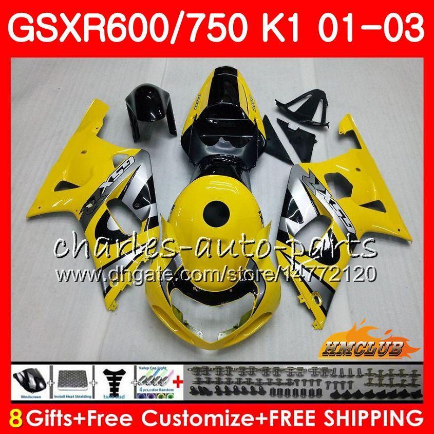 8Gifts 바디 스즈키 GSXR750 GSXR 600 750 GSXR600 01 02 03 4HC.24 GSXR600 K1 GSX R750 GSXR750 2001 2002 2003 페어링 담황색 키트
