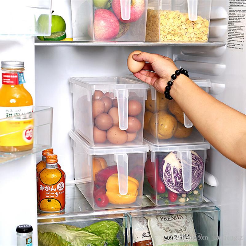 냉장고 보관 상자 주방 투명한 PP 보관 상자 곡물 저장 용기 밀폐 된 홈 주최자 식품 용기