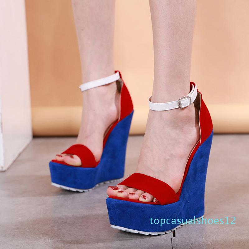 뜨거운 판매 - 15cm 고급 여성 신발 2018 크기 (35) (40) (T12)에 블루 하이힐 플랫폼 웨지 디자이너 샌들 빨간색