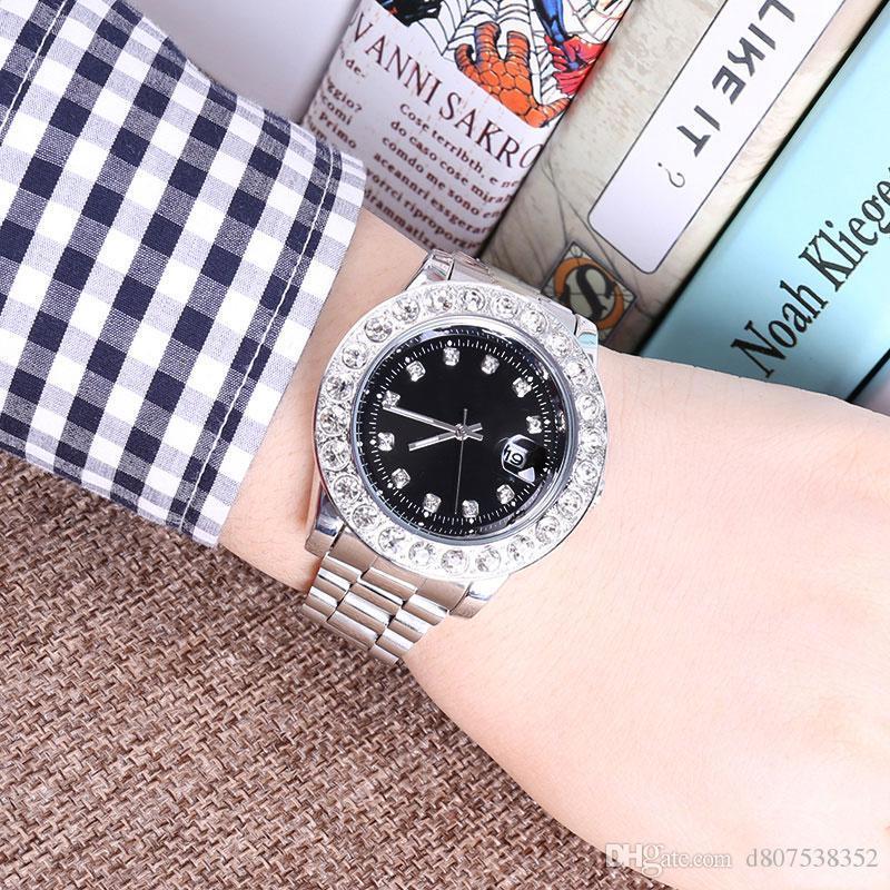 2018 novo designer DayDate diamante relógios novo produto marca de moda de luxo em homens e mulheres datam novos relógios relógio de aço de quartzo para homens