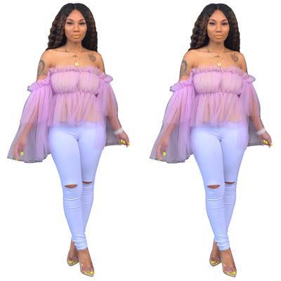 2020 Летняя женская майка дизайнер Повседневный лето с длинным рукавом Разрез шеи футболку моды Luxury женщин высокого качества сращивания футболку Ткань