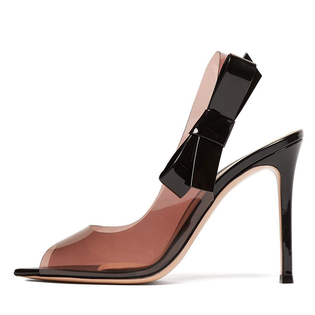 2019 Новая мода супер высокие каблуки Заостренный носок стилет лук Настроенные женщин прозрачный офис леди свадьба партия обуви Бесплатная доставка