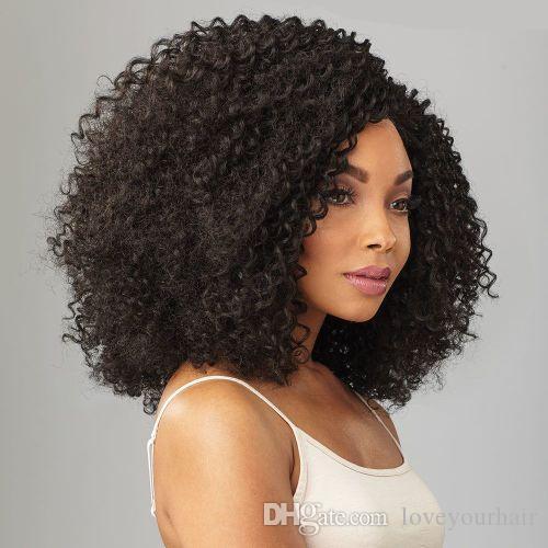 nueva señora de la llegada nuevo peinado afro sacudida corta peluca rizada rizada de simulación del cabello humano del pelo brasileño rizado peluca rizada para las mujeres