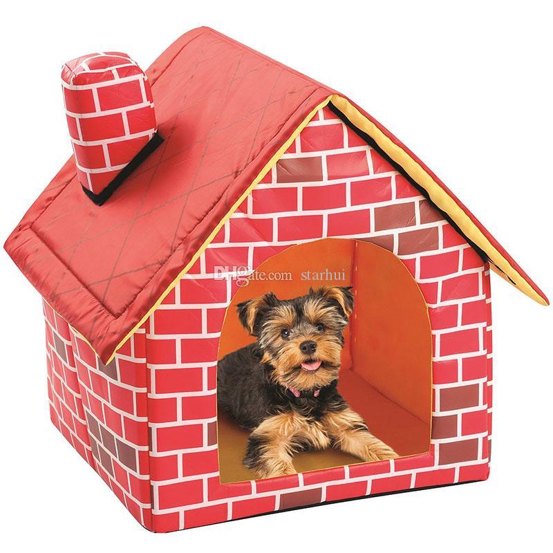 Pet Red House chenils amovible rabattable à plat Top Dog House Nest Portable pliant chien Lit pour chat chiot Puppy Pet Supplies DHL WX9-1875