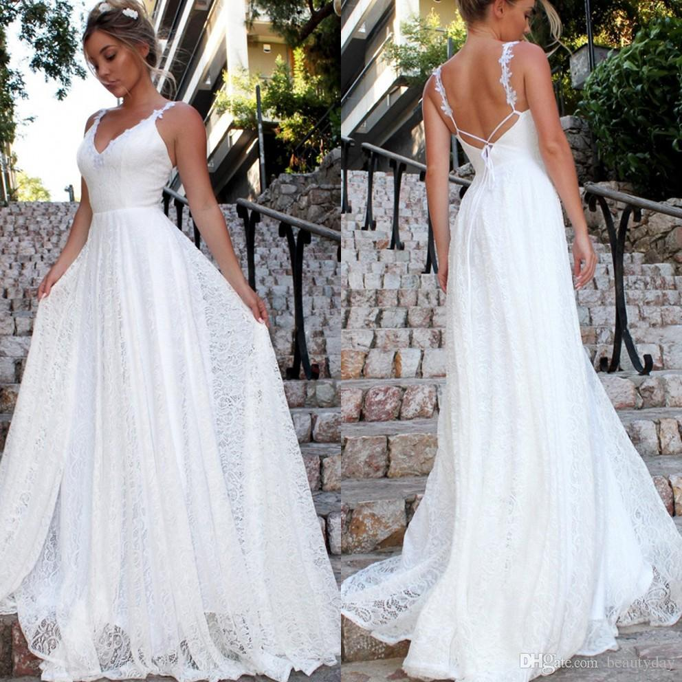 2019 New Lace Beach Wedding Dresses Beach A-line Wedding Dress Maternity Pregnant Boho Bridal Gowns Backless Spaghetti Straps