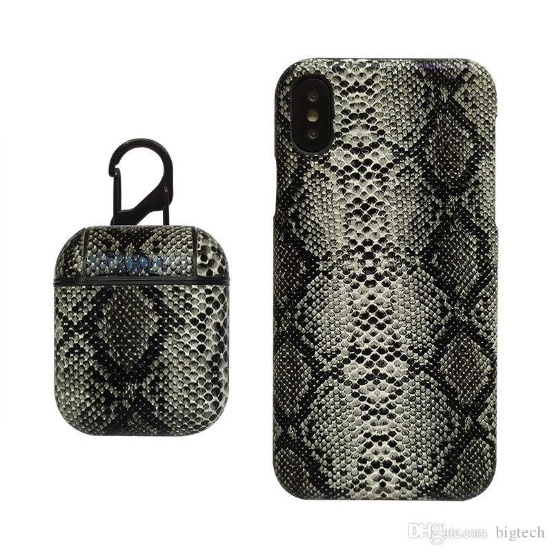 Cobra padrão da pele telefone celular caso e caixa protetora para o sem fio Airpods Caixa de protecção para fone de ouvido Bluetooth com gancho para iPhone XS 8