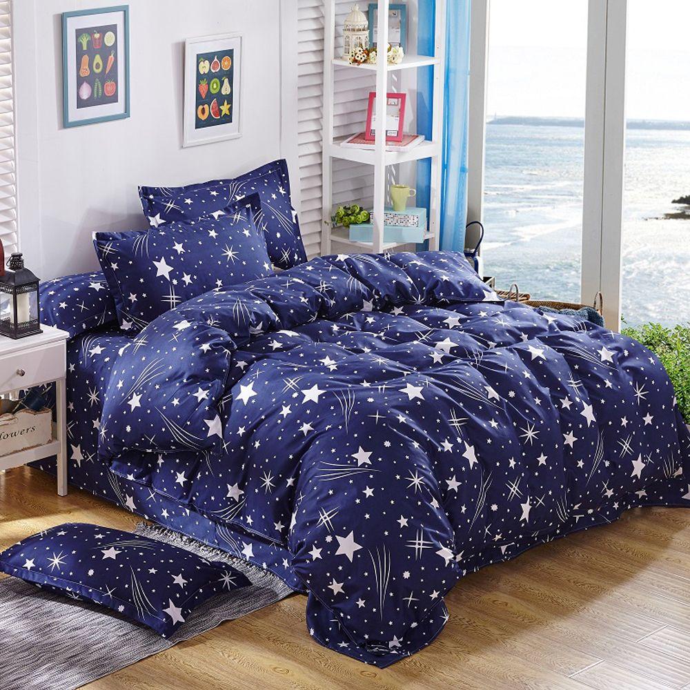 PAPAMIMA Dropshipping Blu cielo stellato set biancheria da letto Branch letto linea bianca Lenzuolo Federa Copripiumino Set biancheria da letto set