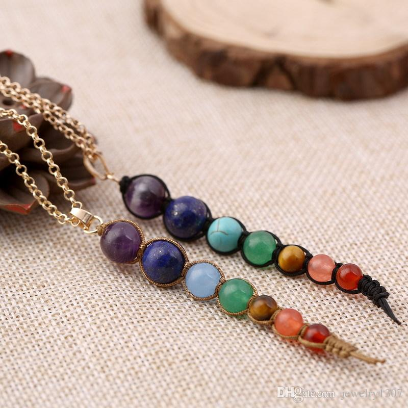 Красочные бусы Шамбала Woven ожерелье Природный камень Chakra Аметист свитер цепи