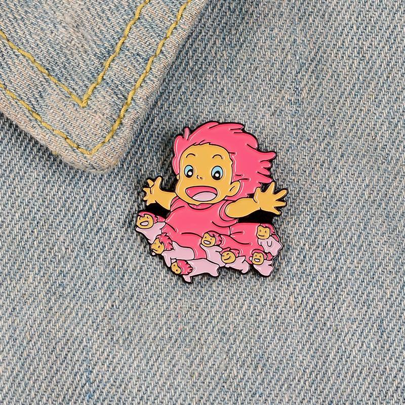 귀여운 작은 만화 예쁜 소녀 재미 있은 에나멜 브로치 핀 여자 아이들 데이밍 셔츠 장식 브로치 핀 금속 카와이 배지 패션 쥬얼리
